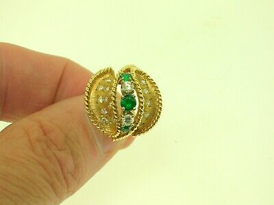 Vintage Very Fine 14K Gold Estate Swirl Ring With 0.50 Ctw Diamonds & Emeralds