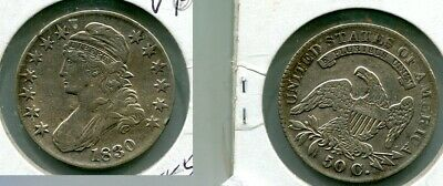 1830 Capped Bust Silver Half Dollar Type Coin  Very Fine 5550M