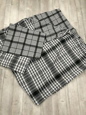 George - New Grey Check Reversible Double Duvet Cover Set