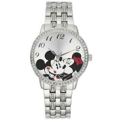 Disney Minnie Mouse Kissing Mickey Mouse Crystal Bracelet Watch**Water Resistant