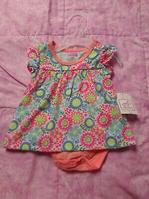 Baby Girl 0-3 Months One Piece Bodysuit Dress Floral Swiggles ~New With Defects~