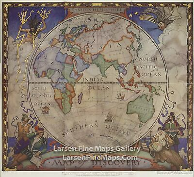 1928 National Geographic Map, Eastern Hemisphere Map of Discovery