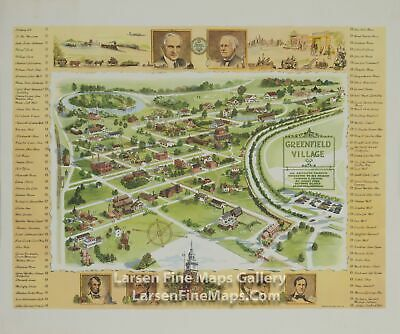 1951 Rare Map, Greenfield Village, An Outdoor Museum Dedicated Thomas A. Edison
