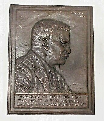LARGE Antique 1920 THEODORE ROOSEVELT Bas Relief Bronze PLAQUE James Fraser