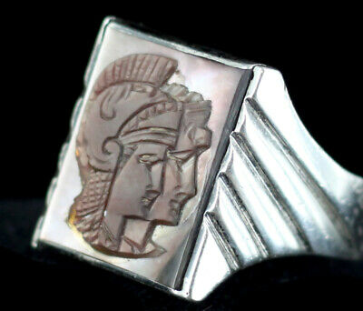 Antique Deco Signet Silver Unisex Black Mother of Pearl Roman Soldier Ring 9