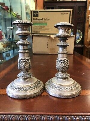 Vintage Antique Ornate Rustic Repousse Silver Plate Candlesticks Candle Holders