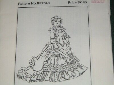 "Vtg 80s Brown House Doll Sew Pattern French Body Ball Gown Skirt Drape 20""Cut#LD"