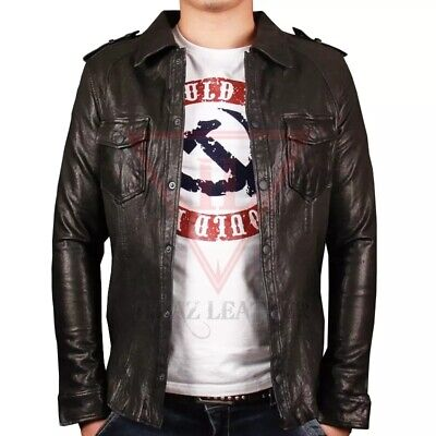 Men's Shirt Jacket Retro Black Real Soft Genuine Waxed Leather Shirt By Lizaz