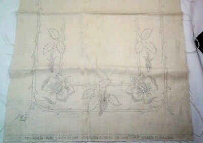 Floral Branch  S802/3 American Thread 14 X 44 In Stamped  Pattern Linen