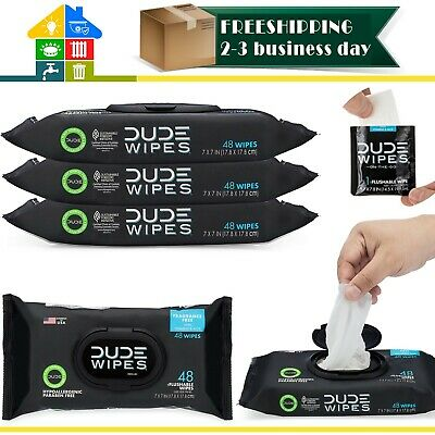 DUDE Wipes Unscented Flushable Wet Wipes Dispenser (3 Packs 48 Wipes) New 100%