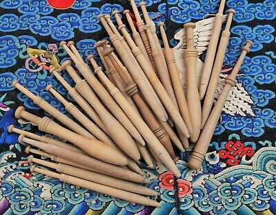33 Rare Antique Victorian Turned Wood Lace Bobbins For Lacemaking Collecting