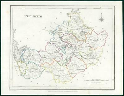 1845 IRELAND - Original Antique Map of WEST MEATH by Lewis with outline colour