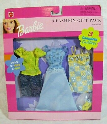 Barbie 2001 3 Fashion Gift Pack Set - 3 Outfits - Styles For Day & Night - Nrfb