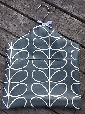 New Oil Cloth Peg Bag XL made from Orla Kiely Linear Stem Cool Grey. Waterproof.