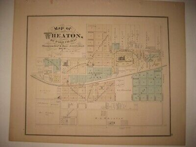 ANTIQUE 1874 WHEATON w COLLEGE DUPAGE COUNTY ILLINOIS HANDCOLORED MAP SUPERB NR