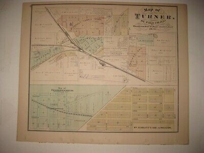 Antique 1874 West Chicago Wheaton Naperville Dupage County Illinois Handcolr Map