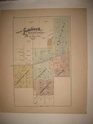 Vintage Antique 1874 Lombard Dupage County Illinois Handcolored Dated Map Superb