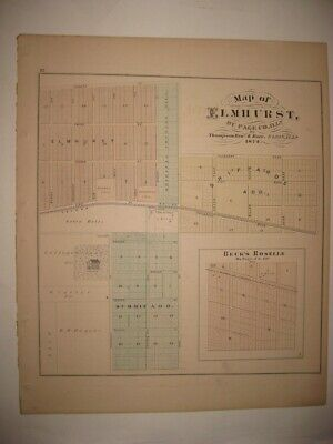 Antique 1874 Elmhurst Bloomingdale Itasca Addison Dupage County Illinois Map Nr