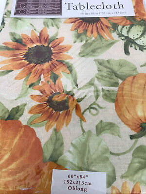 "FALL HARVEST TABLECLOTH 60"" x 84"""" OBLONG EASY CARE NIP SUNFLOWER PUMPKINS"