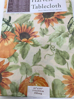 "Fall Harvest Tablecloth 60"" X 104"" Oblong Easy Care Nip Sunflower Pumpkins"