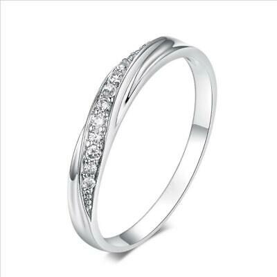 Couple Silver Plated Clear Cubic Zirconia Ring Engagement Wedding Rings LA