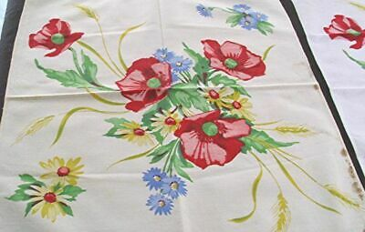 4 Vtg Printed Cotton Dinner Napkins Red Poppies Yellow Daisies Blue Flowers
