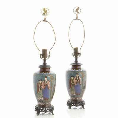 Pair of Antique Chinese Cloisonne Scenic Lamps