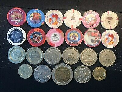 $54 Face Value Casino Chips / Tokens Lot All From Atlantic City Taj Mahal, Trump