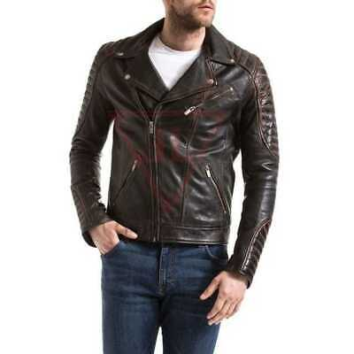 Retro Soft Edge Design Stretchy Mens Black Real Leather Western Jacket By Lizaz