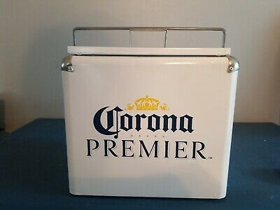 (L@@K) Corona Premier beer Metal 12 Can retro ice chest Cooler Steel new mib