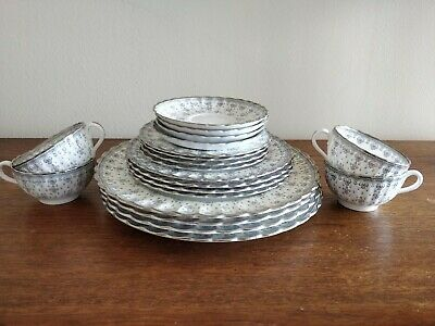 Spode Bone China, Fleur de Lys Platinum Grey, 4--5 Piece Place Settings