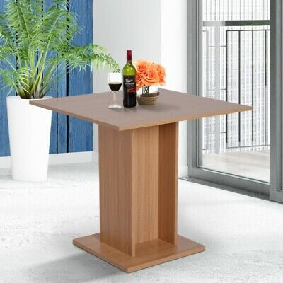 Console Dining Table Square Kitchen Furniture Modern Wood Pedestal Breakfast