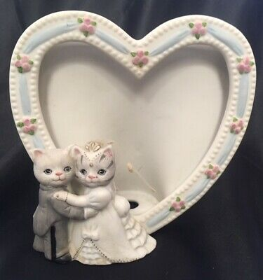 1989 KITTY CUCUMBER Albert Wedding Frame Porcelain Bride Groom Figurine Vtg D3