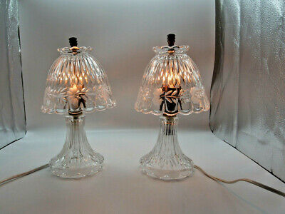 Italian Design Crystal Bedside Lamps Pair c1930