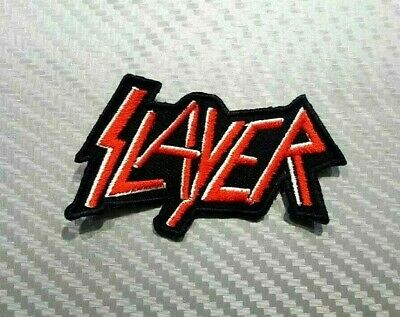 SLAYER ROCK THRASH METAL WOVEN HEAVY MUSIC BAND Embroidered Patch Iron Sew Logo