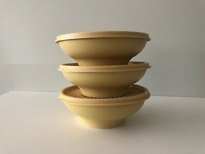 3 Vintage Tupperware Harvest Gold Dishes Servalier Small Round Bowls & Lids