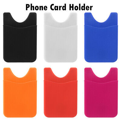 New Silicone Mobile Phone Back Card Holder Wallet Stick On Adhesive Cash ID Soft