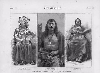1876 Antique Print - UNITED STATES SIOUX INDIAN CHIEFS GRASS CROW BREAST  (13A)