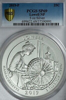 2019-P 25C 5oz Silver Quarter Lowell National Park PCGS SP69