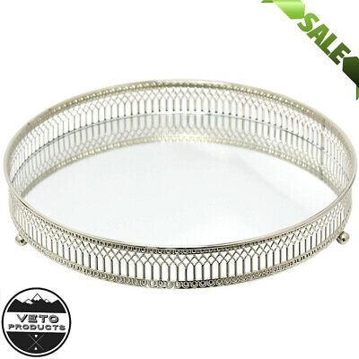 DISPLAY TRAY Mirror Glass Antique Decorative Silver Candle Plate LARGE 25cm TOP