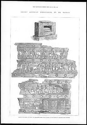 1878 - Antique Print IRAQ Bronze Sculptures TEMPLE AT BALAWAT Nineveh (172)