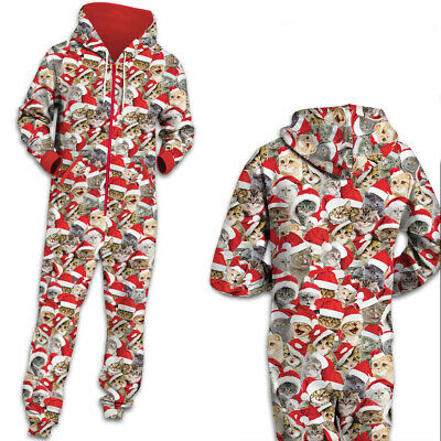 1Onesie Matching Women's Ladies Mens Christmas Cat All in One Pyjamas Pyjama