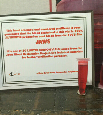 JAWS 1975 Vial of ACTUAL PRODUCTION USED BLOOD with COA/ documents PROP