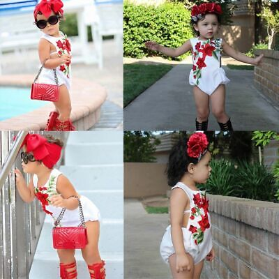Baby Sunsuit Outfits Bodysuit Strap Romper Embroidery Flower Baby Girls Clothes