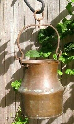 Antique OLD Vintage Solid Copper Pail Pot with Wrought Iron Handle & Ring