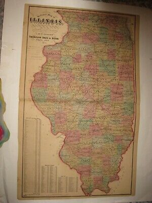 Huge Antique 1874 Illinois Railroad Handcolored Dated Map Chicago Schuamburg Nr