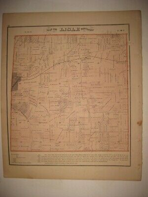 Vintage Antique 1874 Lisle Township Naperville Dupage County Illinois Map Superb