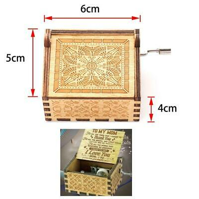 Children Carved Wooden Hand Crank Music Box Case Game Birthday Xmas Toys Gift