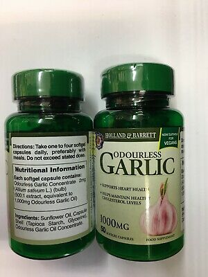 2x Holland & Barrett Odourless Garlic - 1000mg - 50 Softgel Capsules
