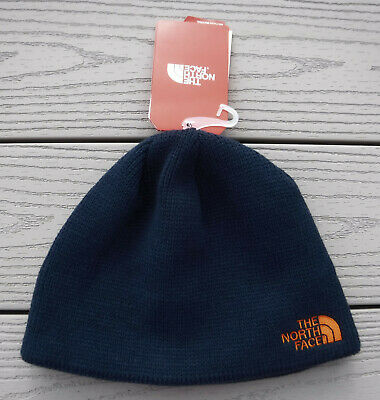 NWT THE NORTH FACE Bones Adult Knit Beanie Hat w/Fleece Ear Liner-OSFM NAVY BLUE